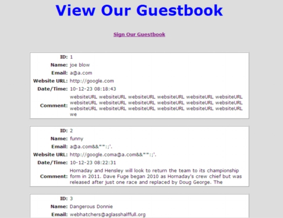 php guestbook viewing